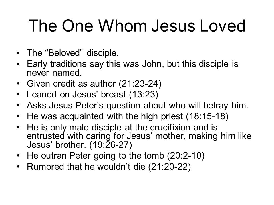 The One Whom Jesus Loved The Beloved disciple.