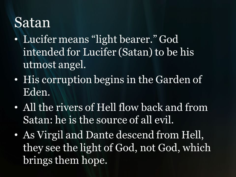 Satan Lucifer means light bearer. God intended for Lucifer (Satan) to be his utmost angel.