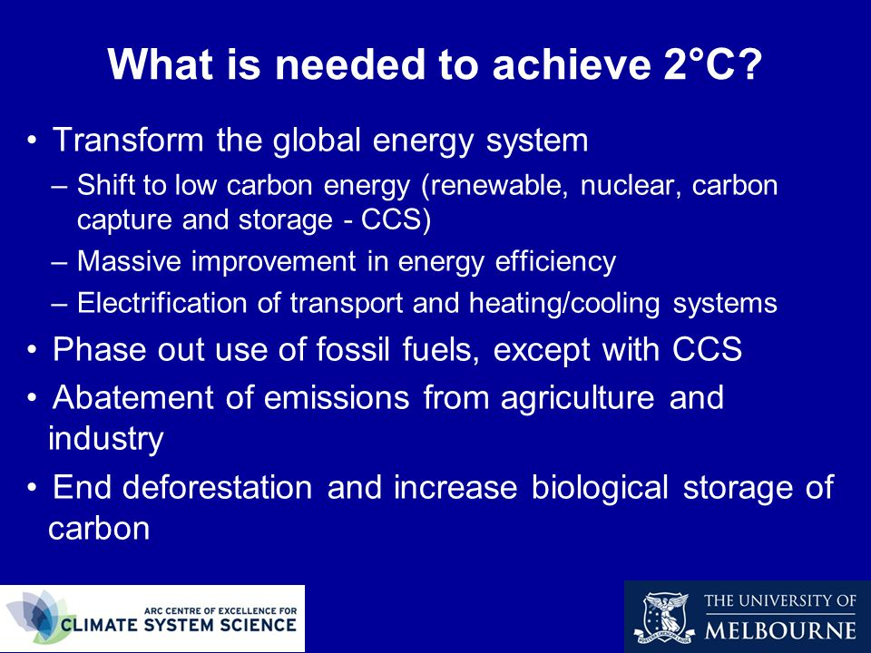 What is needed to achieve 2°C.