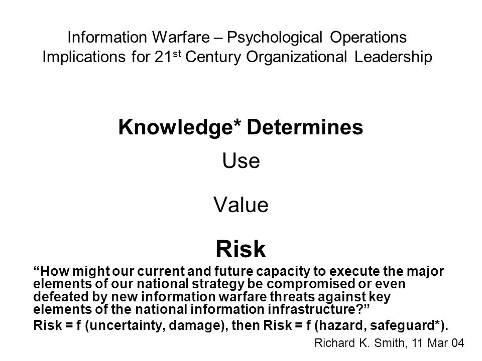 "Information Warfare – Psychological Operations Implications for 21 st Century Organizational Leadership Knowledge* Determines Use Value Risk ""How migh"