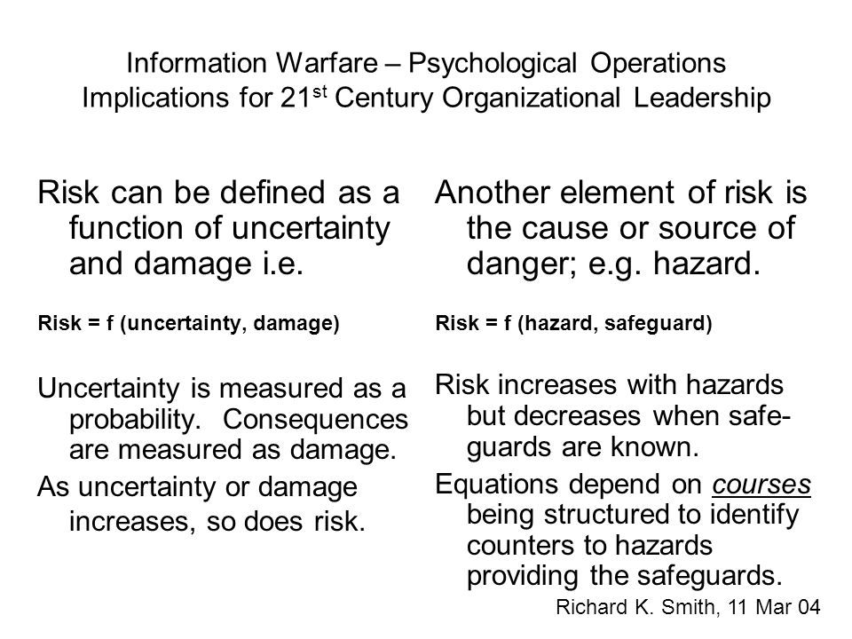 Information Warfare – Psychological Operations Implications for 21 st Century Organizational Leadership Richard K. Smith, 11 Mar 04 Risk can be define