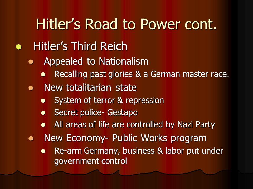 Hitler's Road to Power cont. Hitler's Third Reich Hitler's Third Reich Appealed to Nationalism Appealed to Nationalism Recalling past glories & a Germ