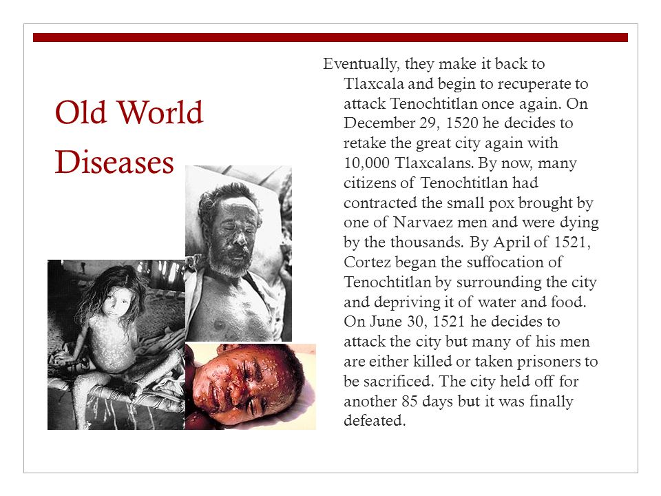 Old World Diseases Eventually, they make it back to Tlaxcala and begin to recuperate to attack Tenochtitlan once again.