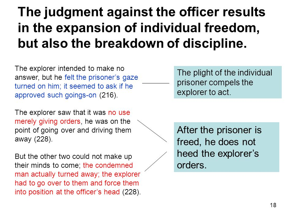 18 The judgment against the officer results in the expansion of individual freedom, but also the breakdown of discipline.