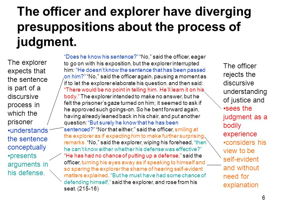 7 The explorer focuses on the content of the sentence while the officer focuses on the form.