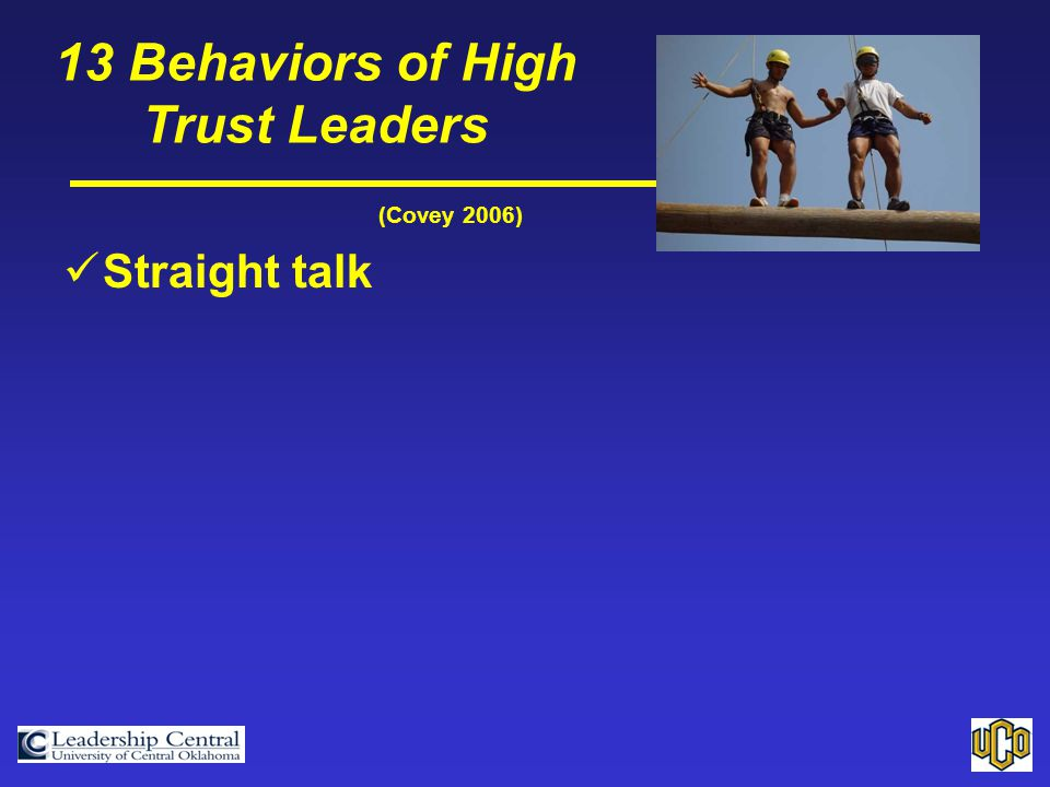 (Covey 2006) Straight talk 13 Behaviors of High Trust Leaders