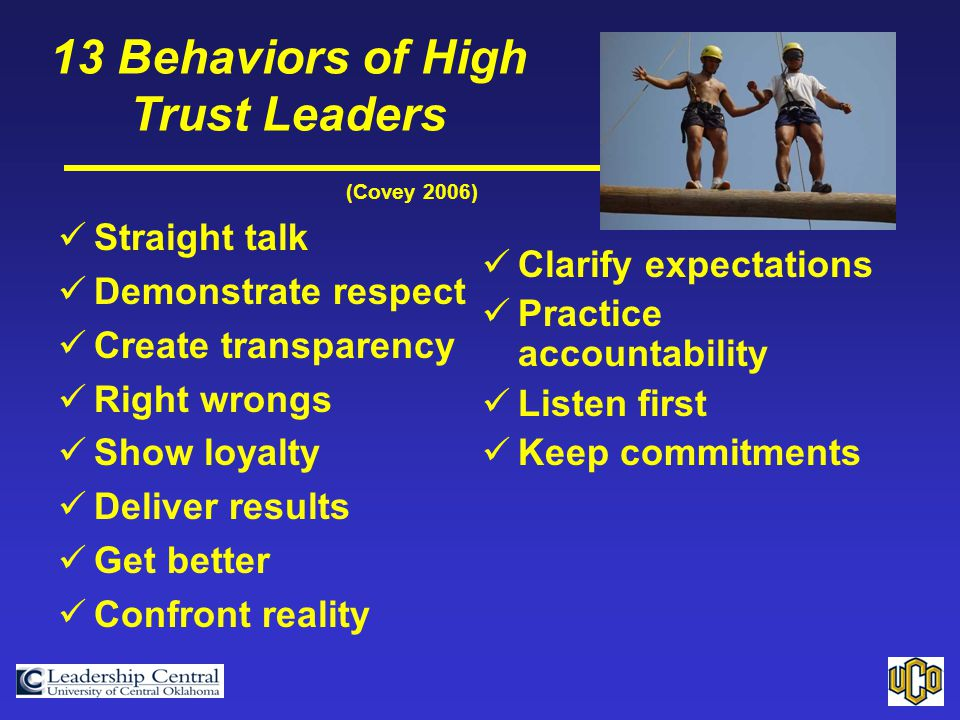 (Covey 2006) Straight talk Demonstrate respect Create transparency Right wrongs Show loyalty Deliver results Get better Confront reality 13 Behaviors of High Trust Leaders Clarify expectations Practice accountability Listen first Keep commitments