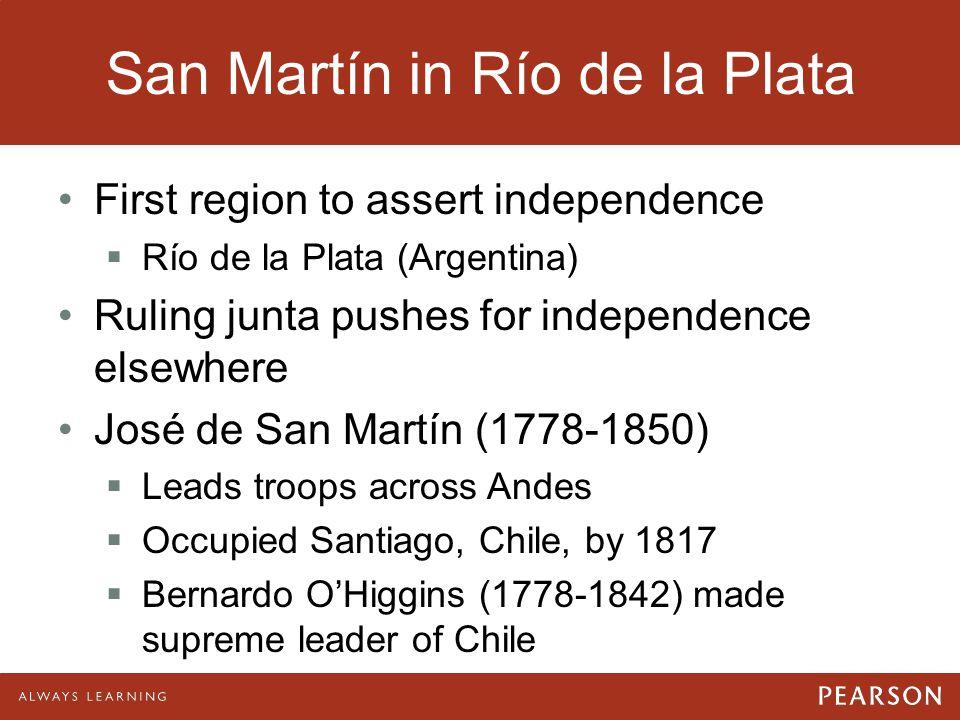 San Martín in Río de la Plata First region to assert independence  Río de la Plata (Argentina) Ruling junta pushes for independence elsewhere José de