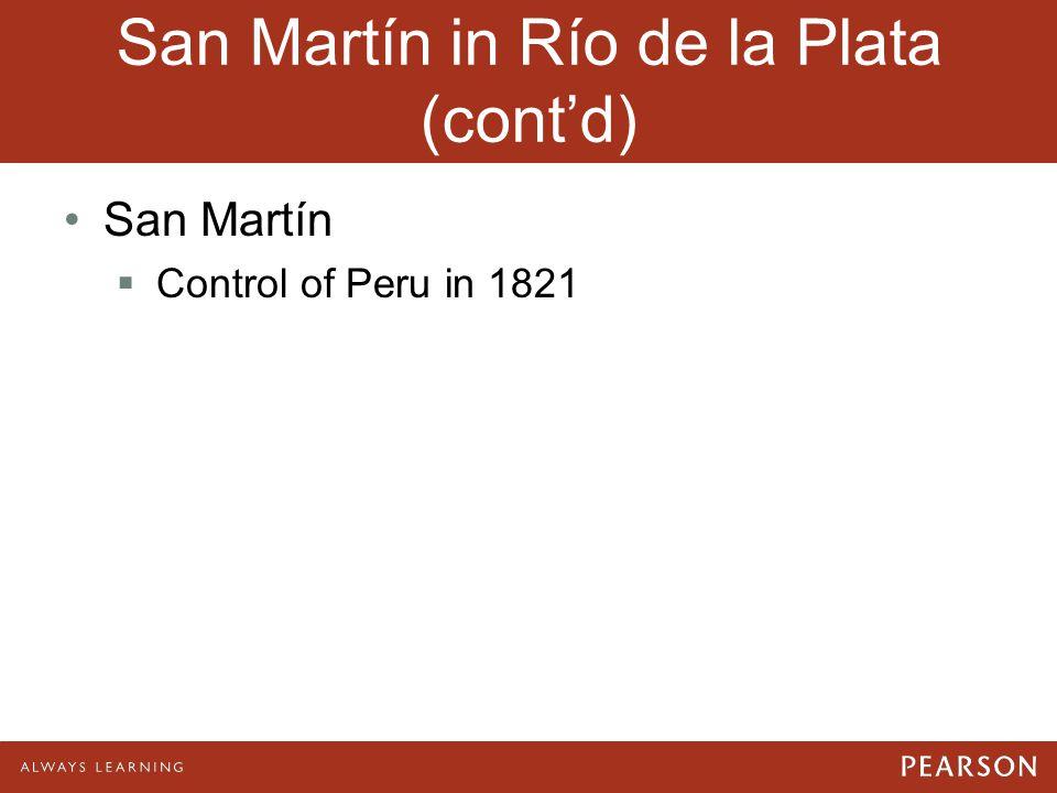 San Martín in Río de la Plata (cont'd) San Martín  Control of Peru in 1821