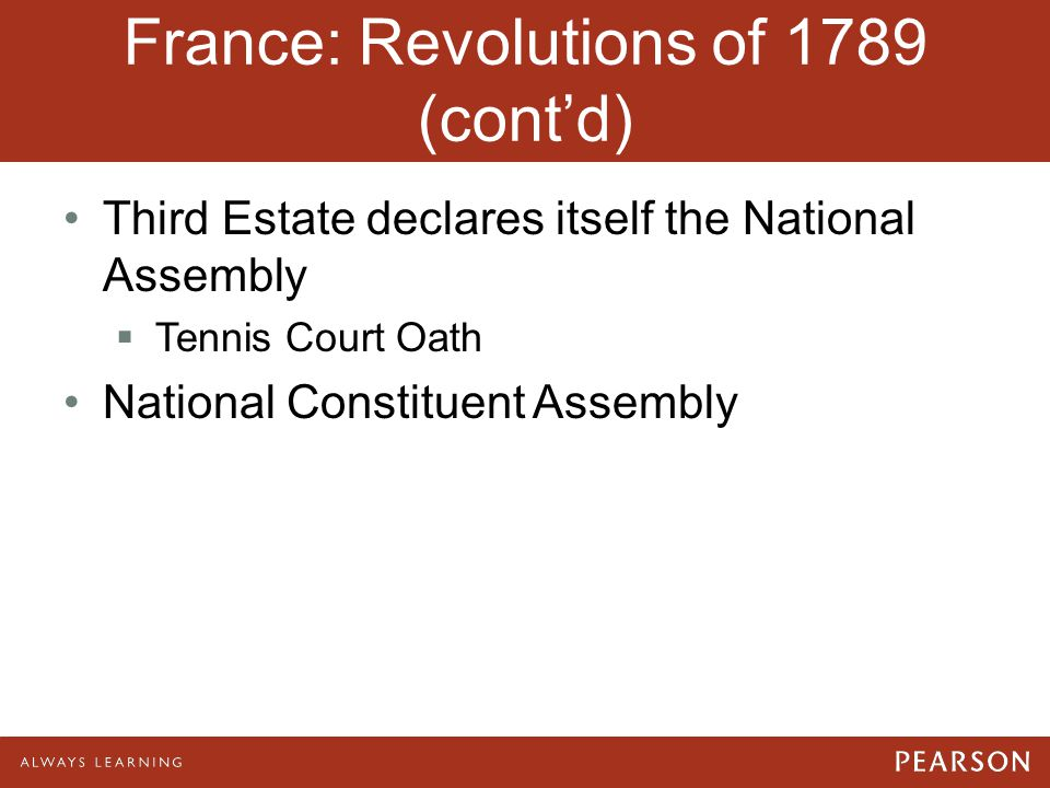 France: Revolutions of 1789 (cont'd) Third Estate declares itself the National Assembly  Tennis Court Oath National Constituent Assembly