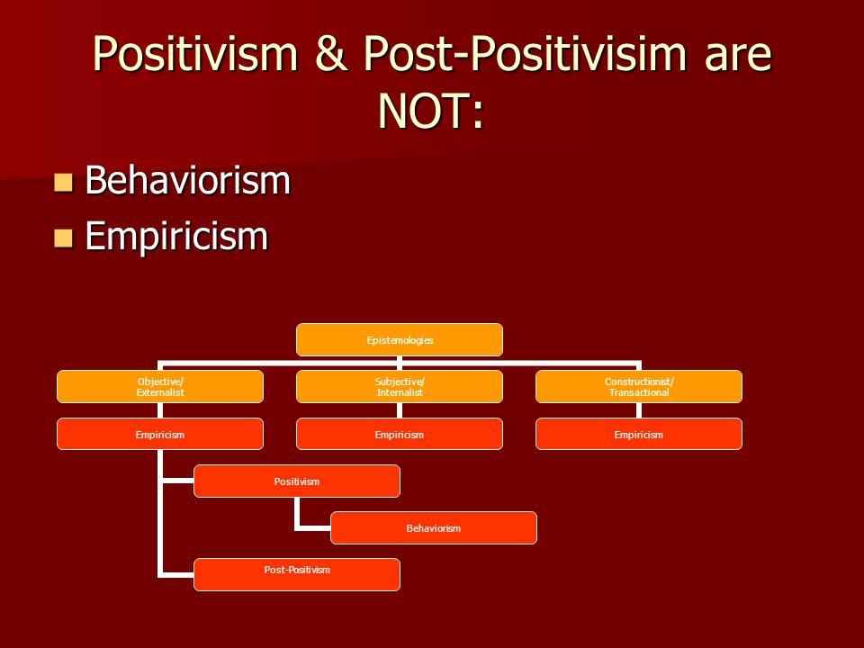 Positivism & Post-Positivisim are NOT: Behaviorism Behaviorism Empiricism Empiricism