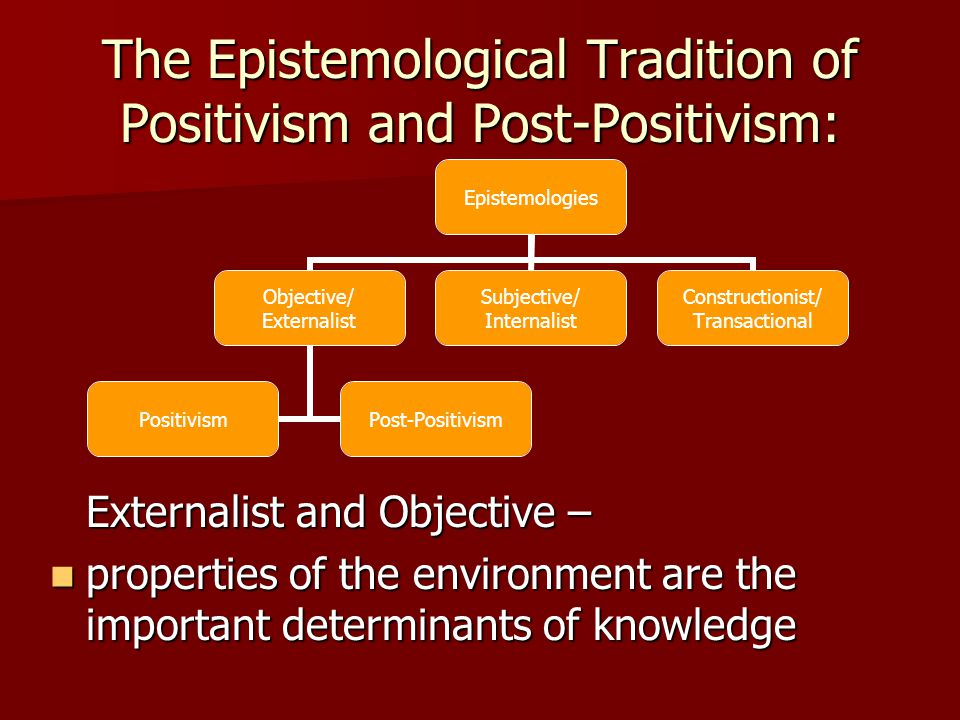 The Epistemological Tradition of Positivism and Post-Positivism: Externalist and Objective – properties of the environment are the important determinants of knowledge properties of the environment are the important determinants of knowledge