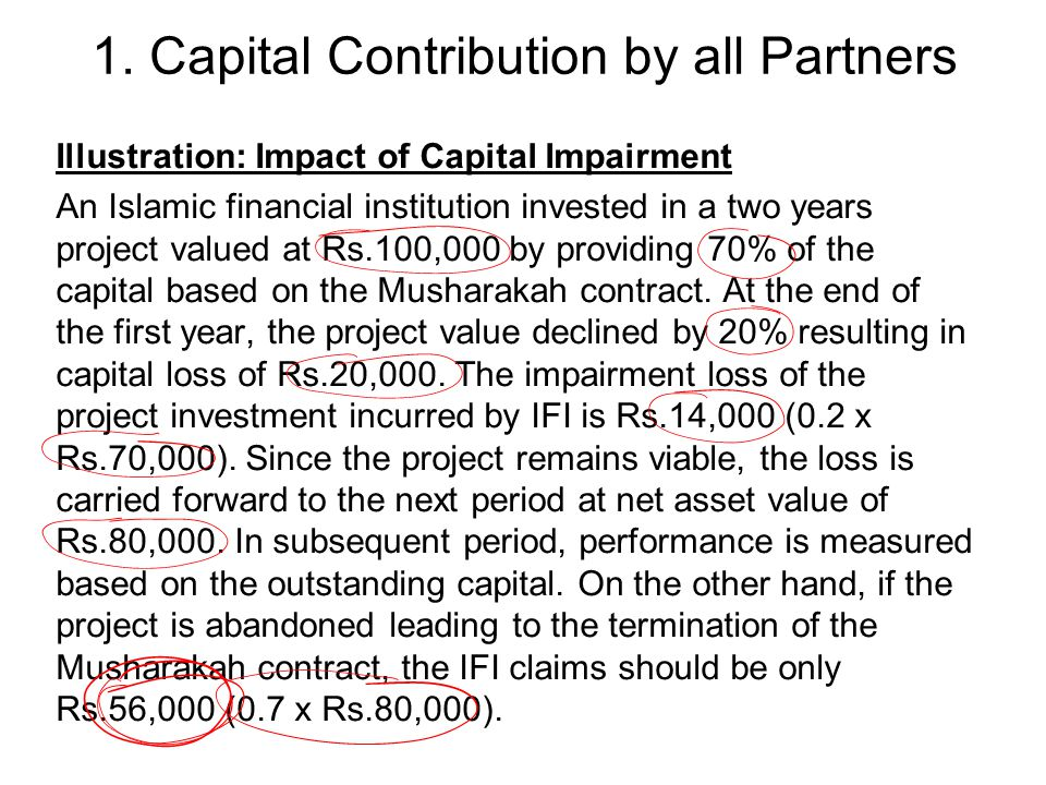 1. Capital Contribution by all Partners Illustration: Impact of Capital Impairment An Islamic financial institution invested in a two years project va