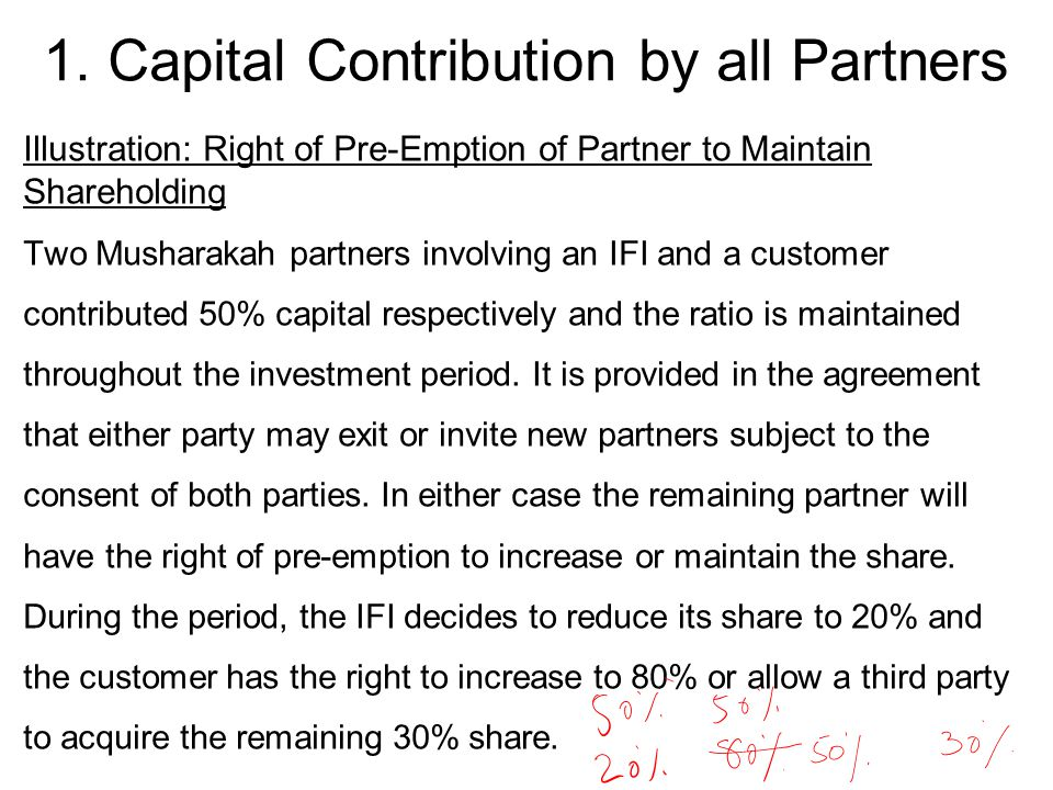 Illustration: Right of Pre-Emption of Partner to Maintain Shareholding Two Musharakah partners involving an IFI and a customer contributed 50% capital respectively and the ratio is maintained throughout the investment period.