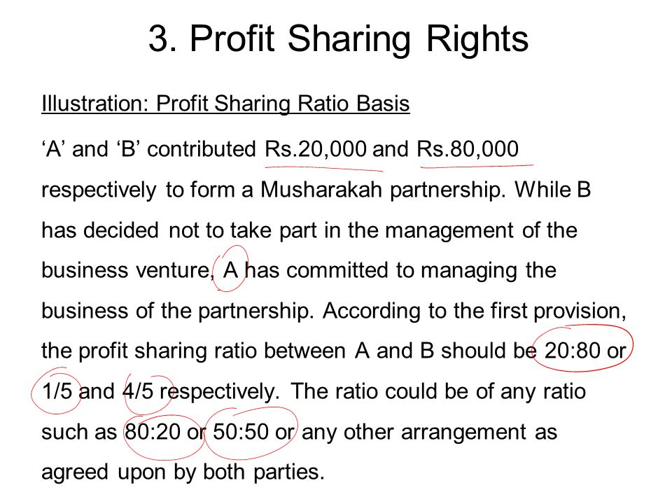 Illustration: Profit Sharing Ratio Basis 'A' and 'B' contributed Rs.20,000 and Rs.80,000 respectively to form a Musharakah partnership.