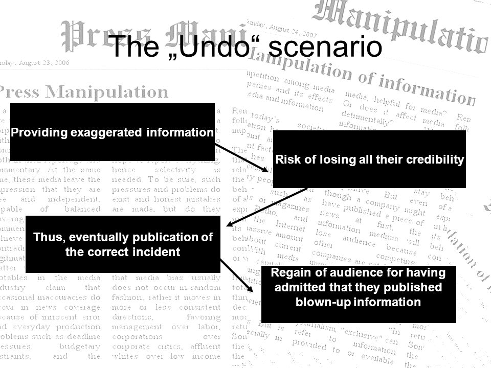 "The ""Undo"" scenario Providing exaggerated information Risk of losing all their credibility Thus, eventually publication of the correct incident Regain"