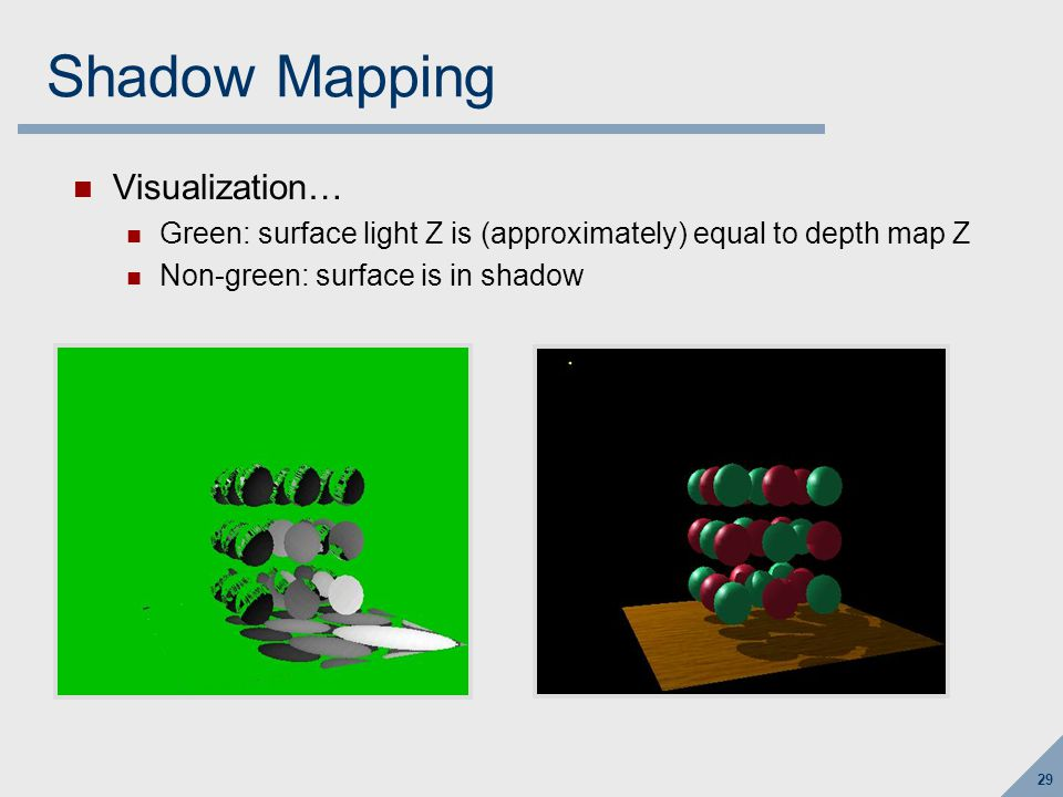 29 Shadow Mapping Visualization… Green: surface light Z is (approximately) equal to depth map Z Non-green: surface is in shadow