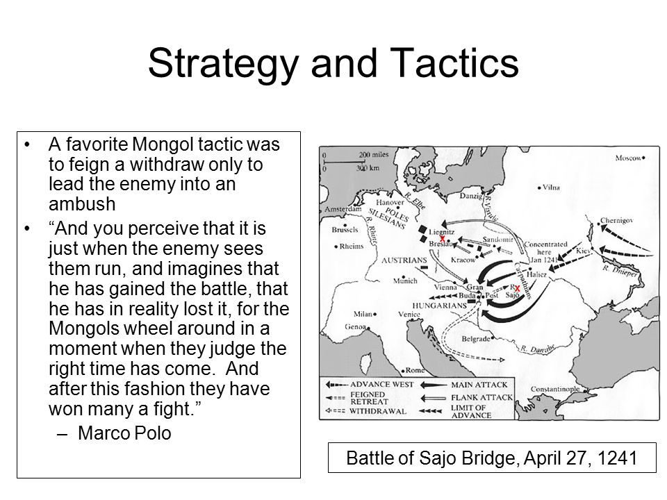 Strategy and Tactics A favorite Mongol tactic was to feign a withdraw only to lead the enemy into an ambush And you perceive that it is just when the enemy sees them run, and imagines that he has gained the battle, that he has in reality lost it, for the Mongols wheel around in a moment when they judge the right time has come.