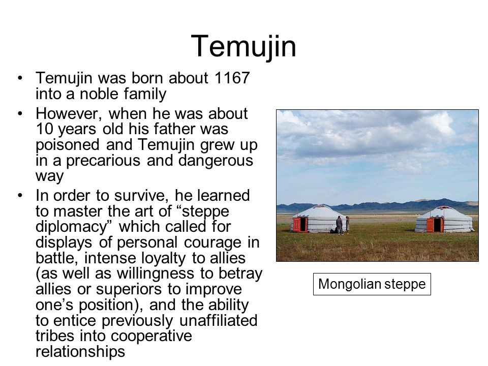 Temujin Temujin was born about 1167 into a noble family However, when he was about 10 years old his father was poisoned and Temujin grew up in a precarious and dangerous way In order to survive, he learned to master the art of steppe diplomacy which called for displays of personal courage in battle, intense loyalty to allies (as well as willingness to betray allies or superiors to improve one's position), and the ability to entice previously unaffiliated tribes into cooperative relationships Mongolian steppe