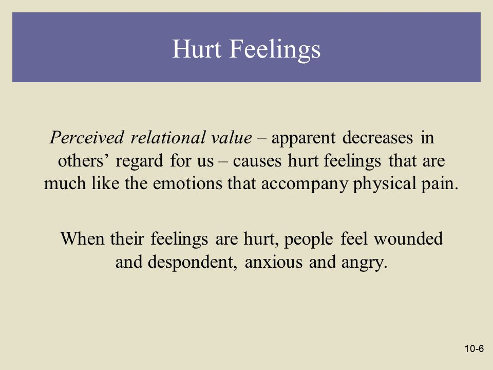 10-7 Hurt Feelings When relational devaluation occurs, some people experience more hurt than others do: Anxiety over abandonment increases hurt feelings.