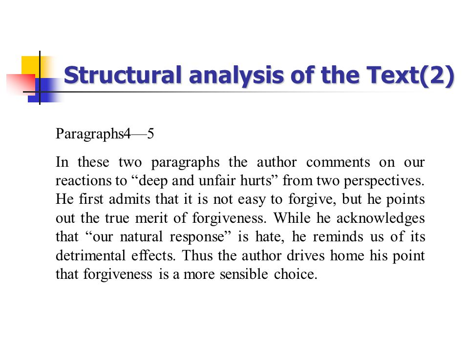 Structural analysis of the Text(2) Paragraphs4—5 In these two paragraphs the author comments on our reactions to deep and unfair hurts from two perspectives.