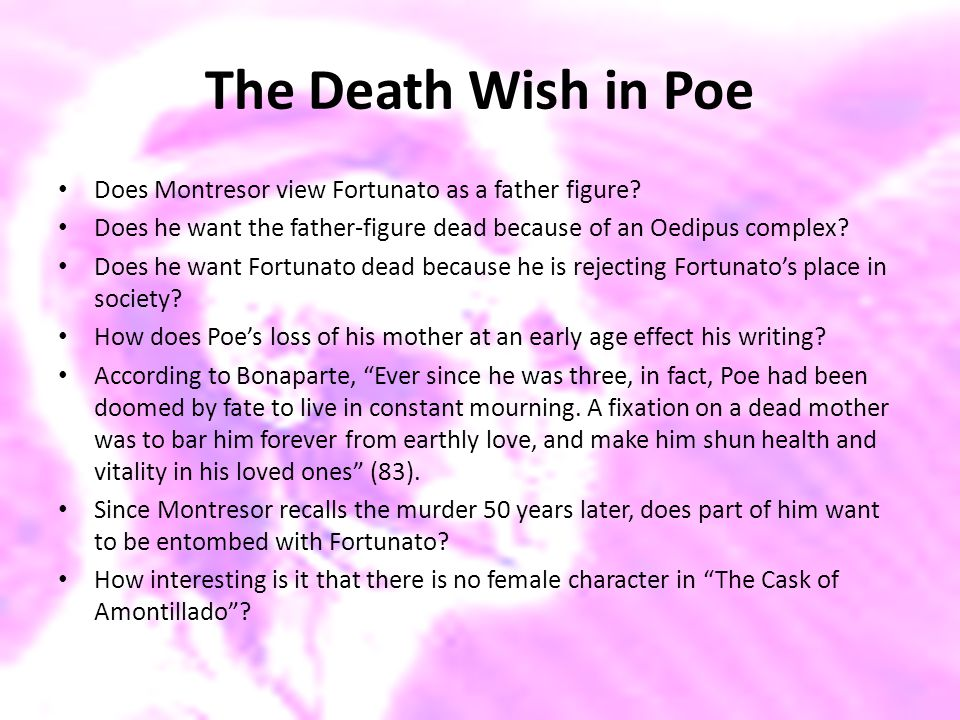 The Death Wish in Poe Does Montresor view Fortunato as a father figure? Does he want the father-figure dead because of an Oedipus complex? Does he wan