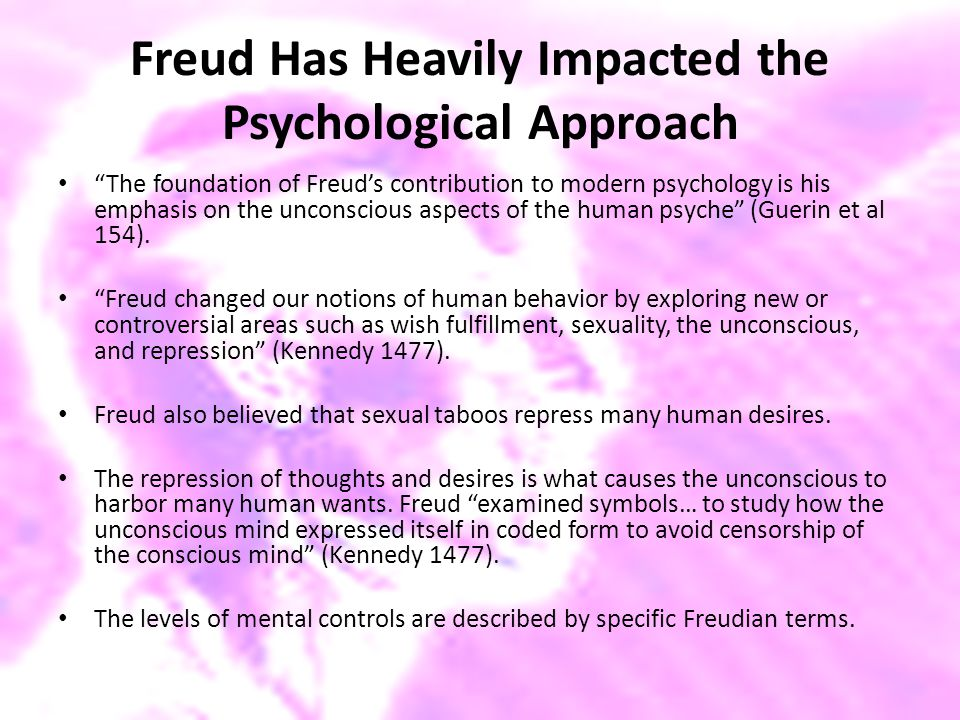 "Freud Has Heavily Impacted the Psychological Approach ""The foundation of Freud's contribution to modern psychology is his emphasis on the unconscious"