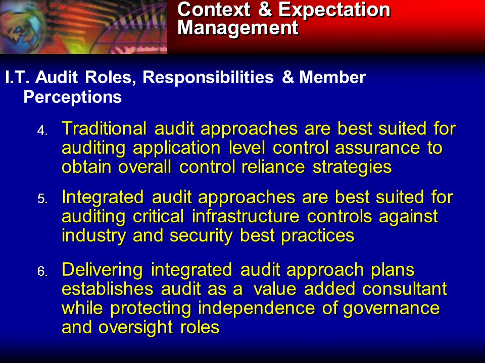 Context & Expectation Management I.T. Audit Roles, Responsibilities & Member Perceptions 4.
