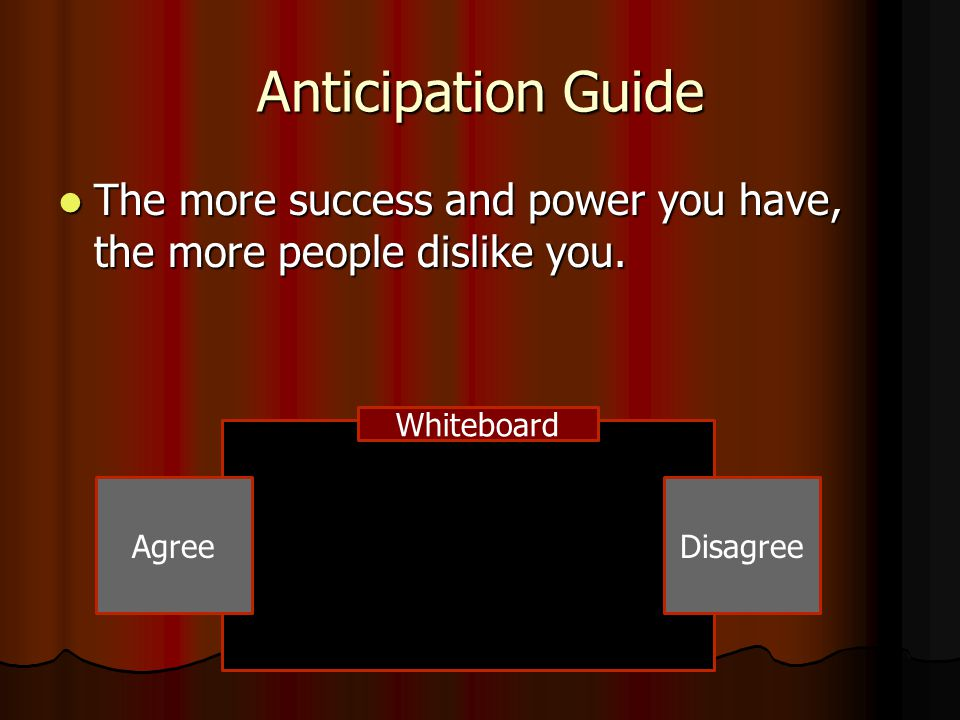 Anticipation Guide The more success and power you have, the more people dislike you. The more success and power you have, the more people dislike you.