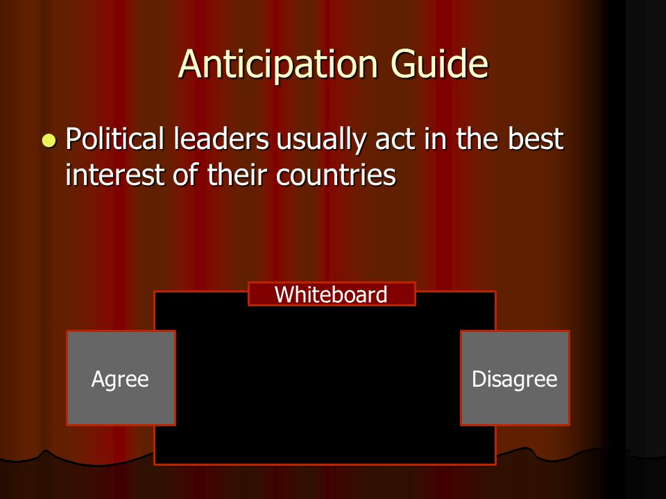 Anticipation Guide Political leaders usually act in the best interest of their countries Political leaders usually act in the best interest of their c