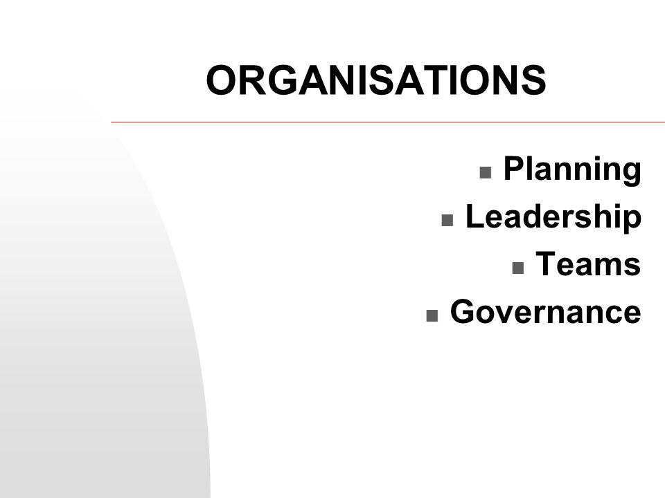 ORGANISATIONS Planning Leadership Teams Governance