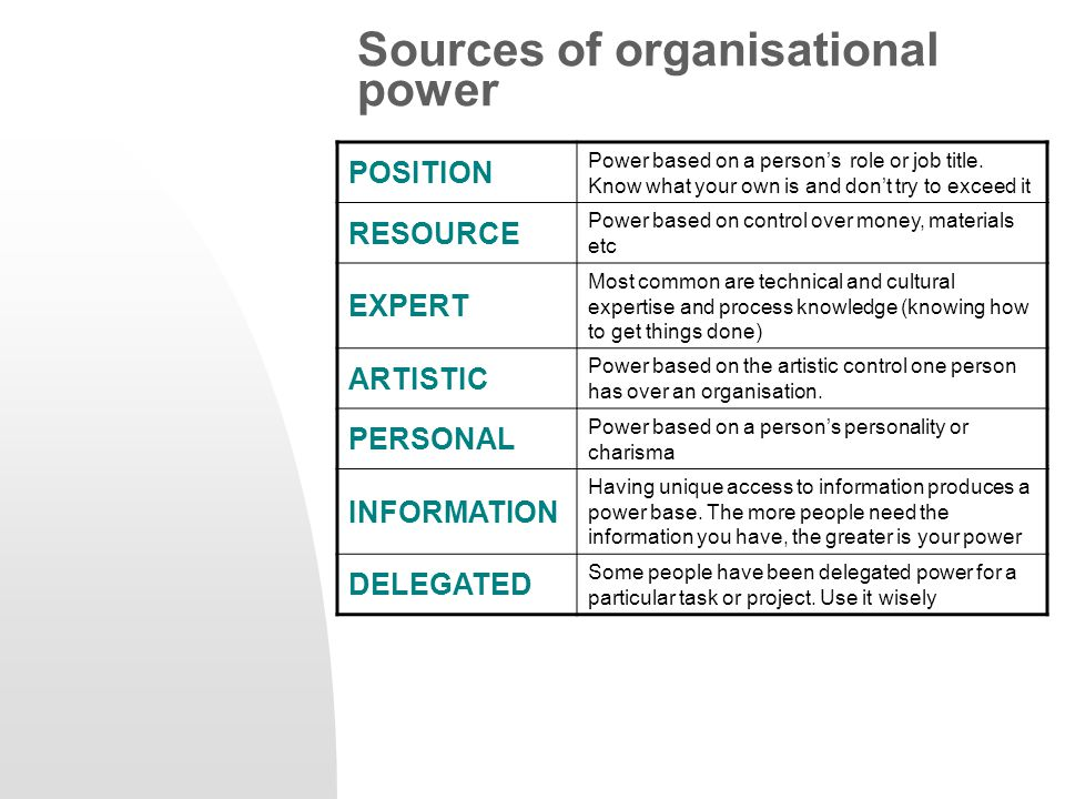 Sources of organisational power POSITION Power based on a person's role or job title. Know what your own is and don't try to exceed it RESOURCE Power