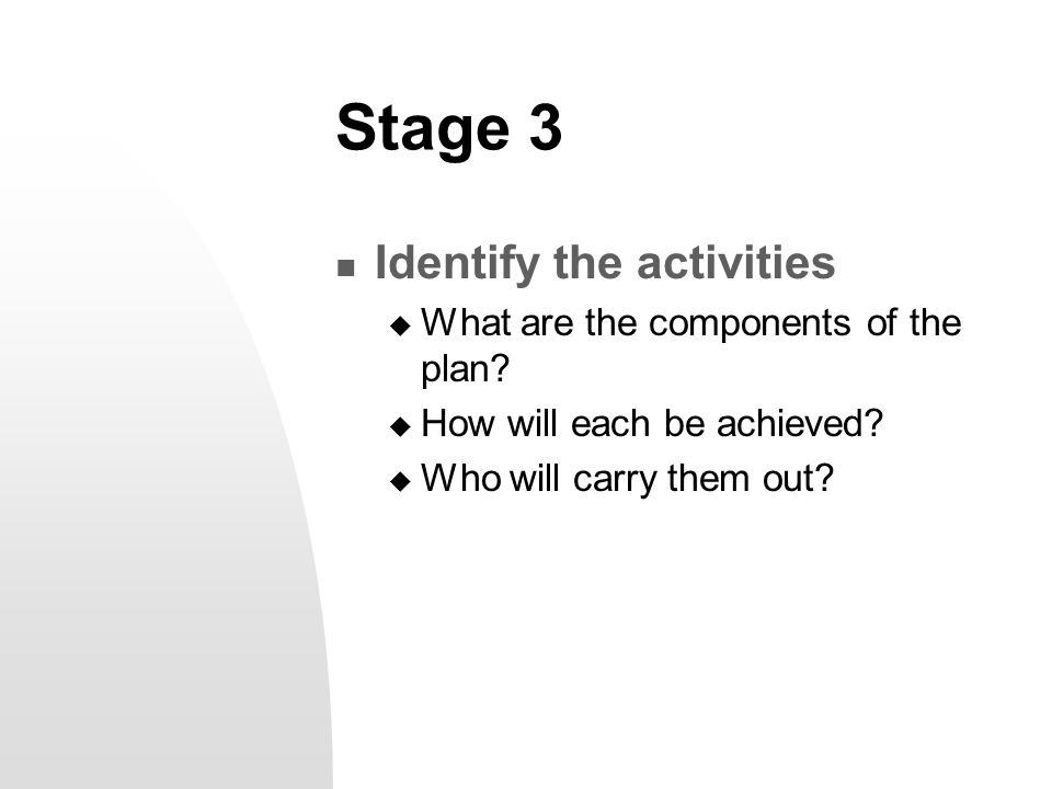 Stage 3 Identify the activities  What are the components of the plan?  How will each be achieved?  Who will carry them out?