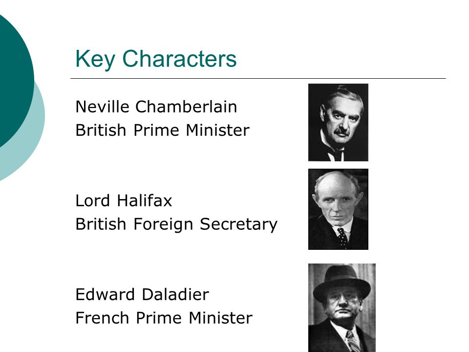Key Characters Neville Chamberlain British Prime Minister Lord Halifax British Foreign Secretary Edward Daladier French Prime Minister
