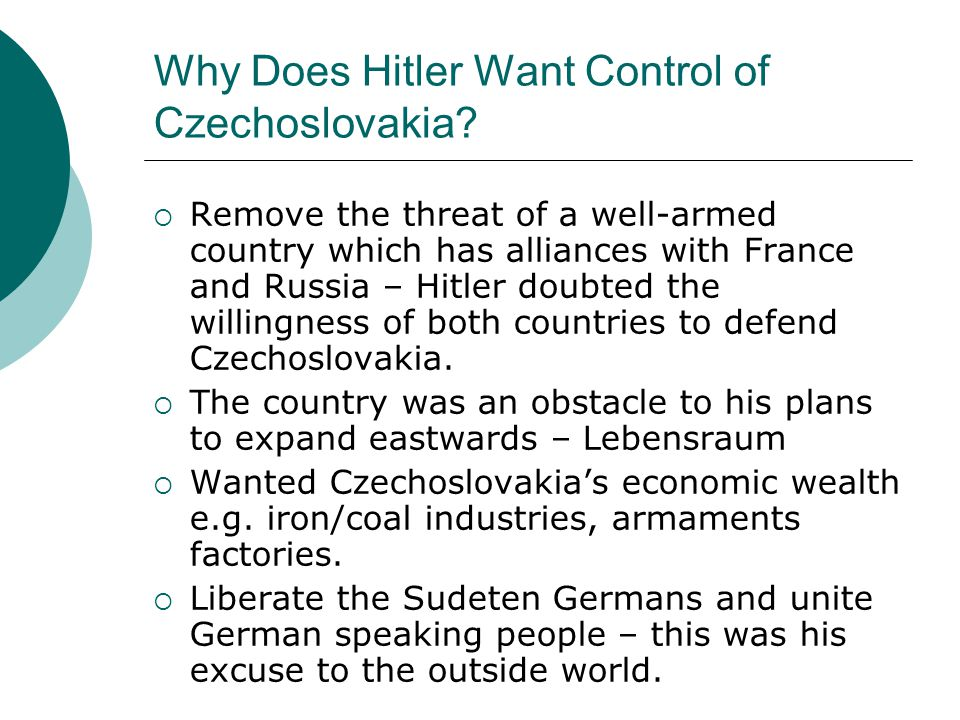 The Beginnings of the Czech Crisis  From 1935 the Nazi Government began to financially subsidise the Sudeten German Party.