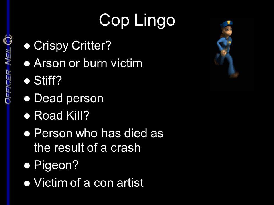 Cop Lingo Crispy Critter? Crispy Critter? Arson or burn victim Arson or burn victim Stiff? Stiff? Dead person Dead person Road Kill? Road Kill? Person