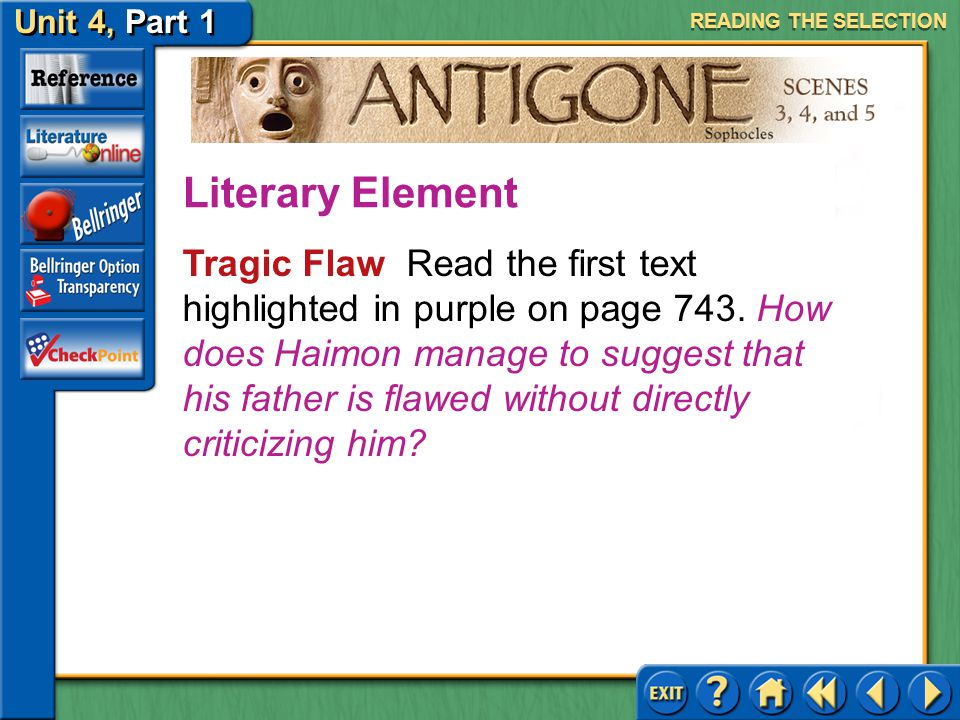 Unit 4, Part 1 Antigone, Scenes 3, 4, and 5 Loyalty and Betrayal Read the second text highlighted in tan on page 742. What is Haimon suggesting about