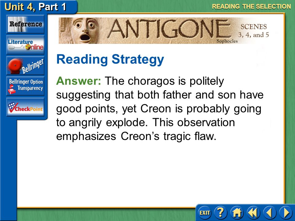 Unit 4, Part 1 Antigone, Scenes 3, 4, and 5 Recognizing Author's Purpose Read the text highlighted in blue on page 744. How does this observation by t
