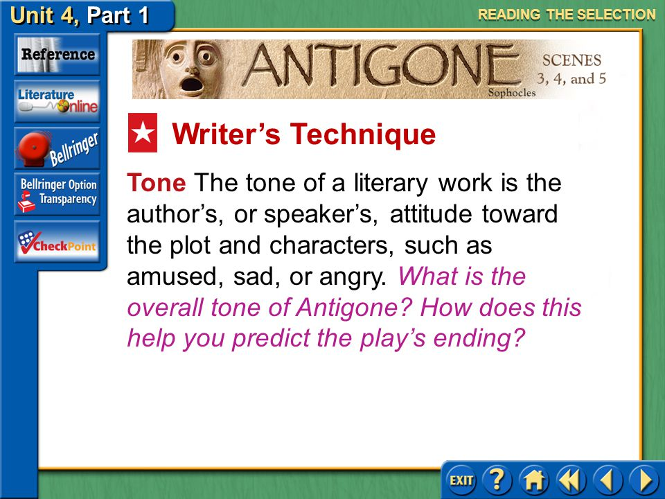 Unit 4, Part 1 Antigone, Scenes 3, 4, and 5 Tragic Flaw Read the second text highlighted in purple on page 745. What new aspect of Creon's character i