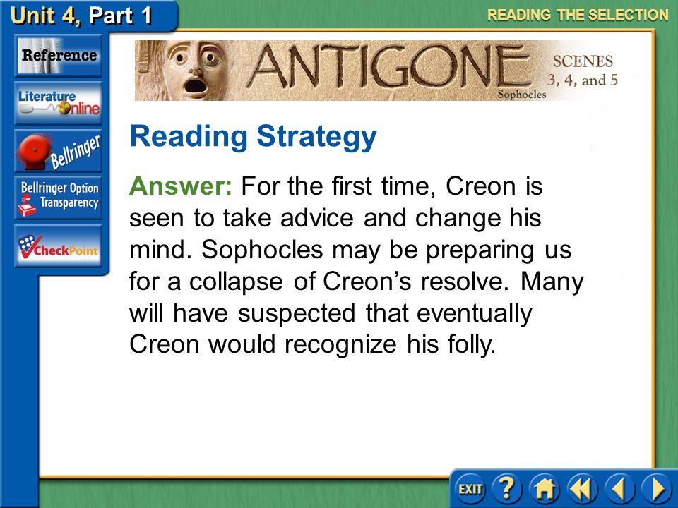 Unit 4, Part 1 Antigone, Scenes 3, 4, and 5 Recognizing Author's Purpose Read the first text highlighted in blue on page 746. What happens here for th