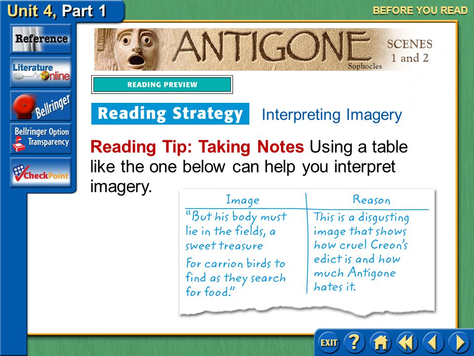 """Unit 4, Part 1 Antigone, Scenes 1 and 2 BEFORE YOU READ Writers create a rich world for their readers by the use of imagery, the """"word pictures"""" that"""