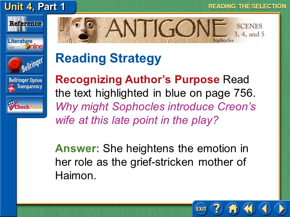 Unit 4, Part 1 Antigone, Scenes 3, 4, and 5 Recognizing Author's Purpose Read the second text highlighted in blue on page 755. What point is the Messe