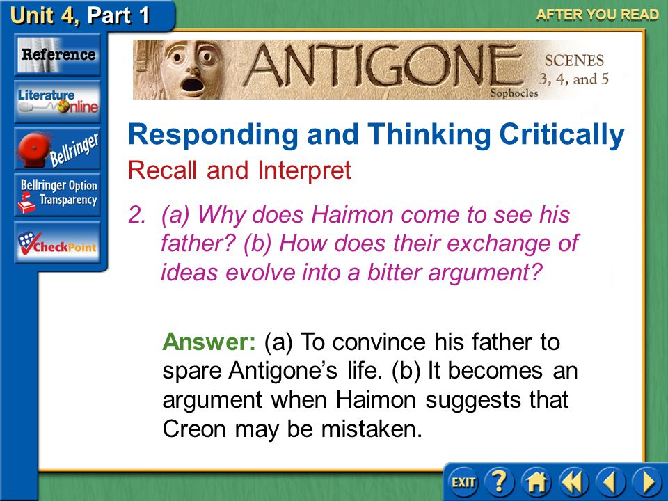 Unit 4, Part 1 Antigone, Scenes 3, 4, and 5 AFTER YOU READ Answer: Answers will vary, but you should show familiarity with the characters. 1.Rank the