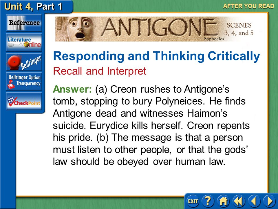 Unit 4, Part 1 Antigone, Scenes 3, 4, and 5 AFTER YOU READ 4.(a) Summarize the events that occur after Teiresias leave Creon? (b) What message, or les