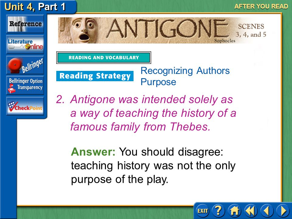 Unit 4, Part 1 Antigone, Scenes 3, 4, and 5 AFTER YOU READ Answer: You should agree: tragedies were considered a form of entertainment. 1.Sophocles wr