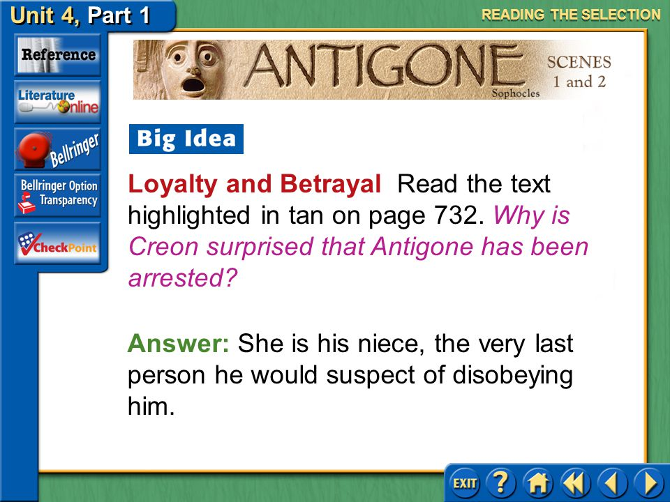 Unit 4, Part 1 Antigone, Scenes 1 and 2 Interpreting Imagery Read the text highlighted in blue on page 731. Why does the author refer to snow and rain