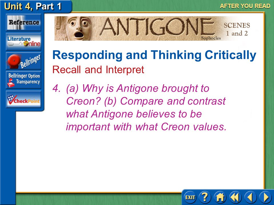 Unit 4, Part 1 Antigone, Scenes 1 and 2 AFTER YOU READ Answer: (a) Someone has buried Polyneices. (b) Creon is arrogant, easily angered, and domineeri
