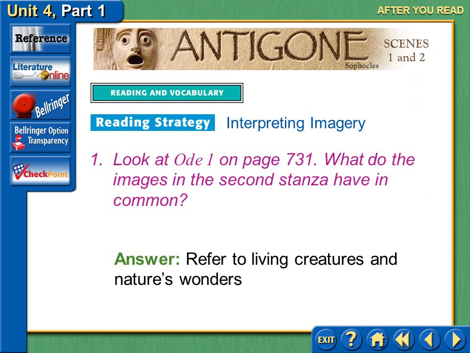 Unit 4, Part 1 Antigone, Scenes 1 and 2 AFTER YOU READ Authors use images not only to help a reader experience the world they are creating, but also t