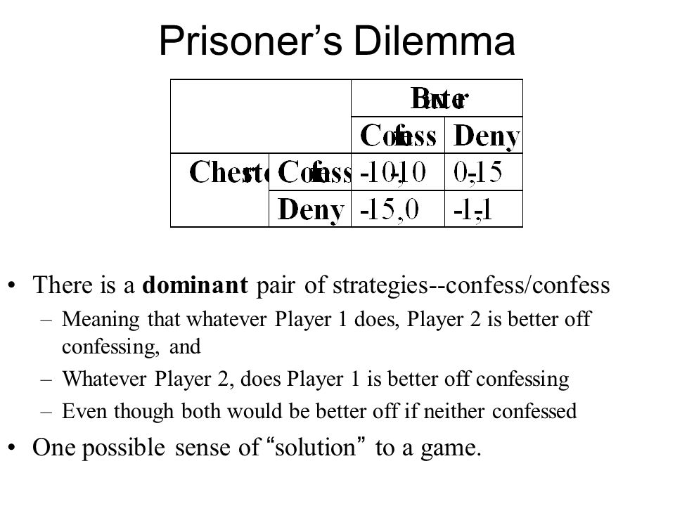 Prisoner's Dilemma There is a dominant pair of strategies--confess/confess –Meaning that whatever Player 1 does, Player 2 is better off confessing, an