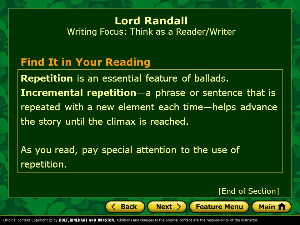 [End of Section] Lord Randall Reading Focus: Understanding Purpose Into Action: As you read, note details that help you determine the purposes of the ballads.